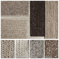 "Artist's Loom Hand-Woven Contemporary Solid Pattern New Zealand Wool Shag Rug (5'x7'6"") - 5' x 7'6"""