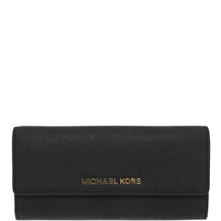 Michael Kors Women's Jet Set Travel Black Large Gusseted Carry-all Wallet