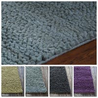 "Artist's Loom Hand-Woven Contemporary Abstract Pattern New Zealand Wool Shag Rug (5'x7'6"")"