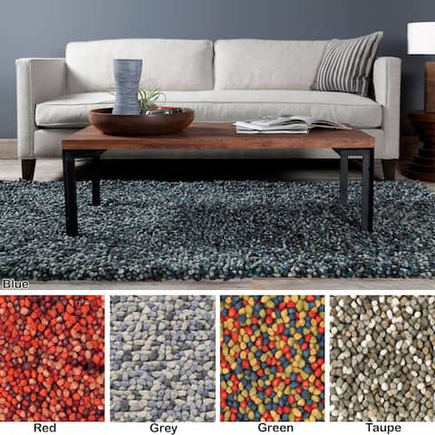 """Artist's Loom Hand-Woven Contemporary Solid Pattern Shag Rug (5'x7'6"""") - 5' x 7'6"""