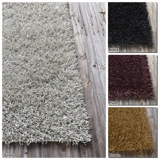 """Artist's Loom Hand-Woven Contemporary Abstract Pattern Shag Rug (5'x7'6"""")"""