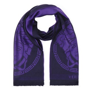 Versace Wool Purple Logo Scarf