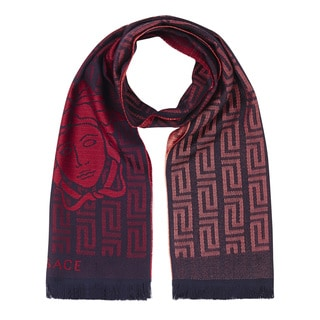 Versace Red Wool Geometric Scarf