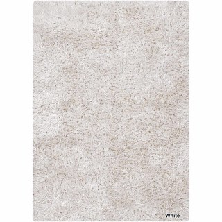 Artists Loom Hand-Woven Contemporary Solid Pattern Shag Rug (9x13) (White - (9 ft. x 13 ft. ))
