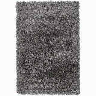 Artists Loom Hand-Woven Contemporary Solid Pattern Shag Rug (9x13) (Grey - (9 ft. x 13 ft. ))