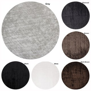 """Artist's Loom Hand-Woven Contemporary Solid Pattern Rug (7'9"""" Round) - 7'9 Round"""