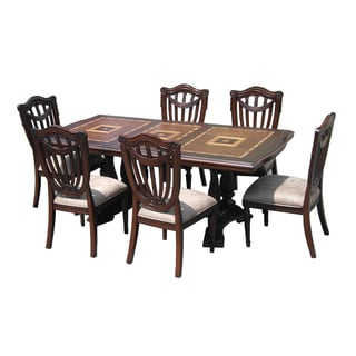 D-Art Sheraton 7-piece Mahogany Wood Extendable Dining Set (Indonesia)