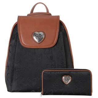 Rimen Co. Heart Print Pattern 2-piece Fashion Backpack and Wallet Set