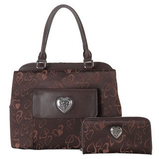 Rimen & Co. Heart Print Pattern 2-piece Tote Bag and Wallet Set