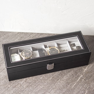 Personalized Black Leatherette Watch Box