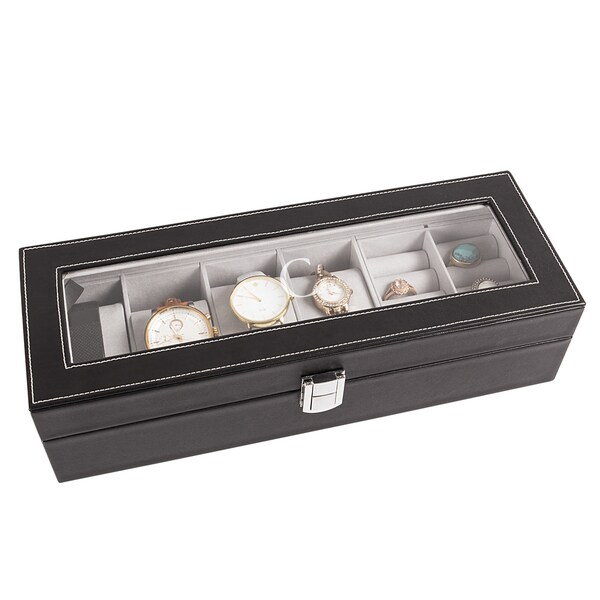 Personalized Black Leatherette Watch Box
