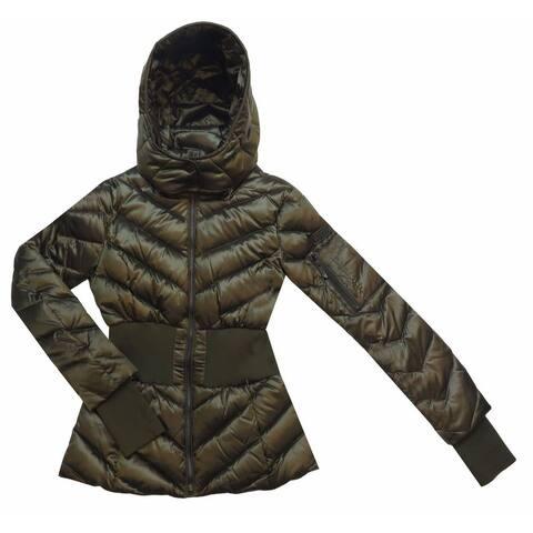 BCBG Max Azria Women's Emilia Olive Green Hooded Puffer Coat