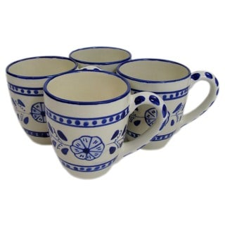 Le Souk Ceramique Set of 4 Azoura Design Stoneware Tea Cup (Tunisia)