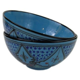 Handmade Le Souk Ceramique Set of 2 Sabrine Design Medium Stoneware Deep Serve Bowls (Tunisia)