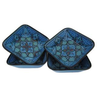 Handmade Le Souk Ceramique Set of 4 Sabrine Design Square Stoneware Pasta/Salad Bowls (Tunisia)