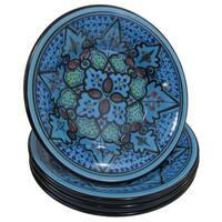 Handmade Le Souk Ceramique Set of 4 Sabrine Design Stoneware Pasta/Salad Bowls (Tunisia)