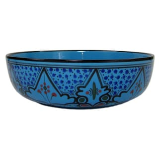 Handmade Le Souk Ceramique Sabrine Design Wide Stoneware Salad/Pasta Bowl (Tunisia)