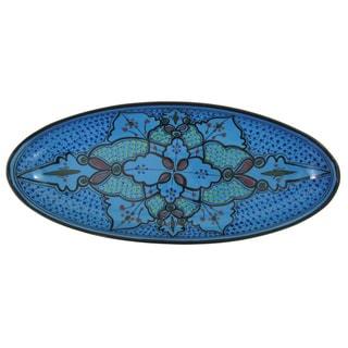 Handmade Le Souk Ceramique Sabrine Design Extra Large Stoneware Oval Platter (Tunisia)