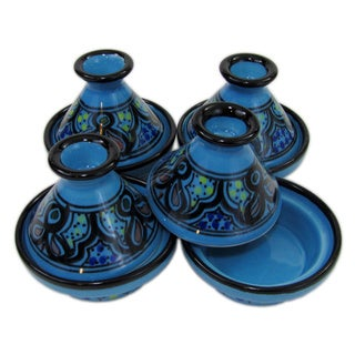 Le Souk Ceramique Set of 4 Sabrine Design Mini Stoneware Tagines (Tunisia)