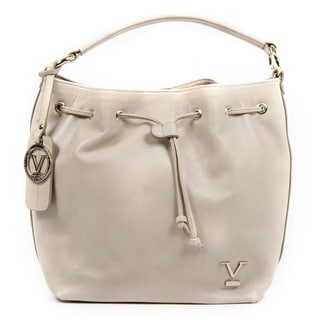 Versace 1969 V Italia Leather Beige Shoulder Draw String Bag