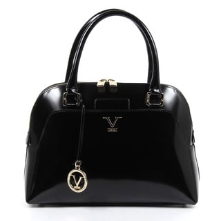 Versace 1969 V Italia Leather Mirror Black Top Handle Tote Bag