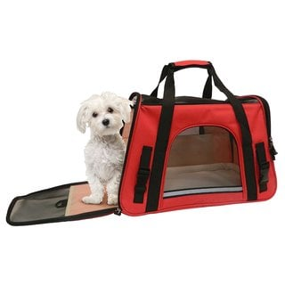 Coleman Red Nylon Adjustable Shoulder Strap Pet Carrier