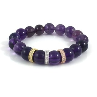 Amethyst with Cubic Zirconia Bands Beaded Bracelet