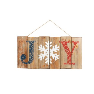 LED 'Joy' Illuminated Hanging Wooden Sign