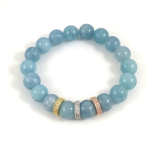 Aquamarine with Cubic Zirconia Rings Beaded Bracelet