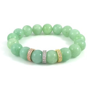 Rebecca Cherry Burmese Jade with Cubic Zirconia Bands Beaded Bracelet