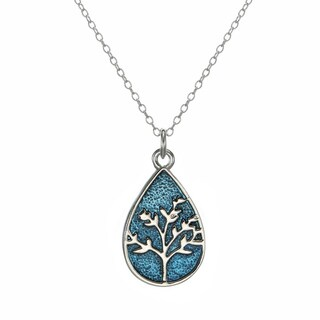 Jewelry by Dawn Pewter Tree of Life Sterling Silver Cable Chain Necklace - Blue