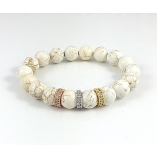 Howlite with Cubic Zirconia Bands Beaded Bracelet