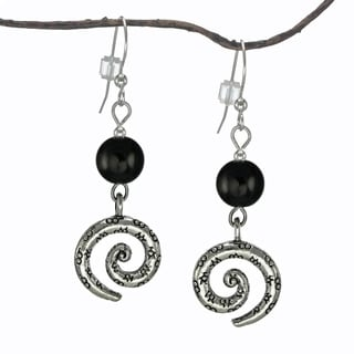 Jewelry by Dawn Black Glass Pewter Swirl Earrings