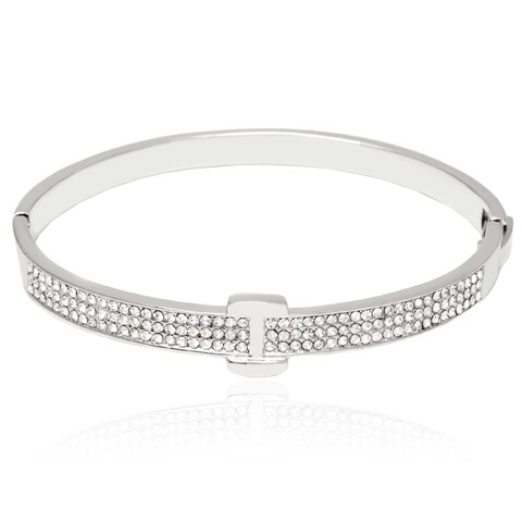 Rhodium-Plated Silvertone and White Fashion Belt Bangle