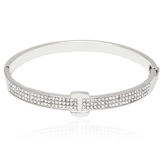 Peermont Rhodium-Plated Silvertone and White Fashion Belt Bangle