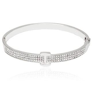 Rhodium-Plated Silvertone and White Fashion Belt Bangle