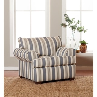 Made to Order Klaussner Lady Blue and White Striped Chair