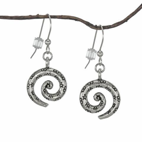 Handmade Jewelry by Dawn Antique Pewter Swirl Earrings (USA) - Silver
