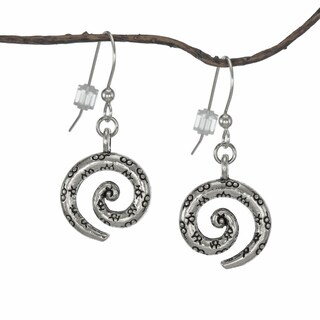 Handmade Jewelry by Dawn Antique Pewter Swirl Earrings (USA) - Silver
