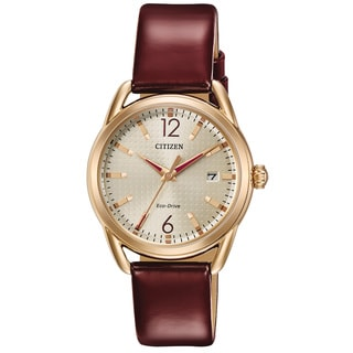 Citizen Women's Eco-Drive Rose-Tone and Leather Watch