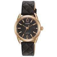 Citizen Women's  Eco-Drive Black Leather Watch