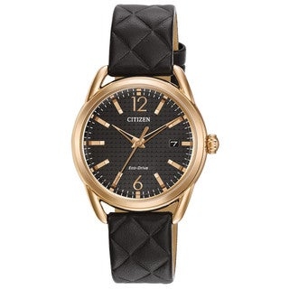 Citizen Women's FE6083-13E Eco-Drive Black Leather Watch