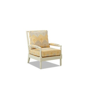 Made to Order Klaussner Rocco White Occasional Chair with Grey/Yellow Damask Upholstery