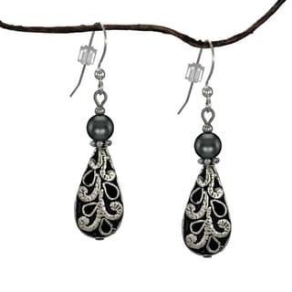 Jewelry by Dawn Antique Puffed Teardrop Hematite Earrings