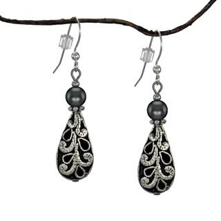 Handmade Jewelry by Dawn Antique Puffed Teardrop Hematite Earrings (USA)
