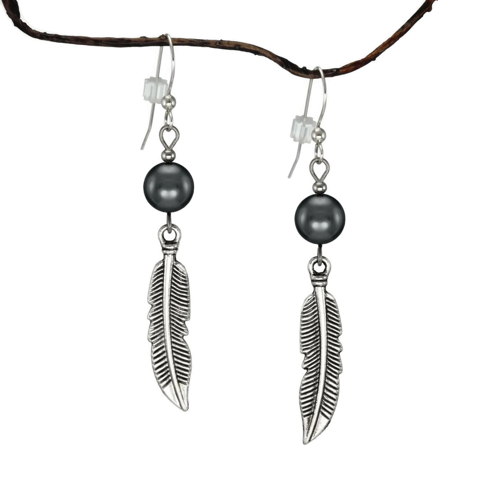 Jewelry by Dawn Hematite With Curved Pewter Feather Earri...