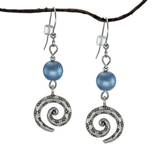Jewelry by Dawn Blue Satin Textured Glass Pewter Swirl Earrings
