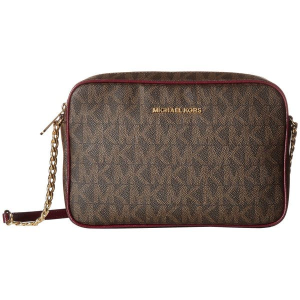 Michael Kors Jet Set Brown And Plum Cross Body Handbag