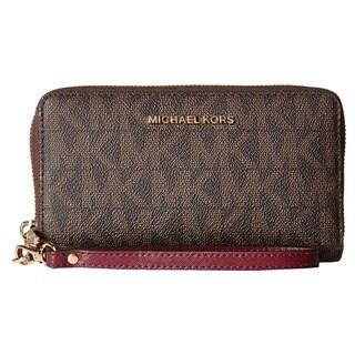 Michael Kors Jet Set Brown/Plum PVC Large Flat Multifunction Phone Case Wallet