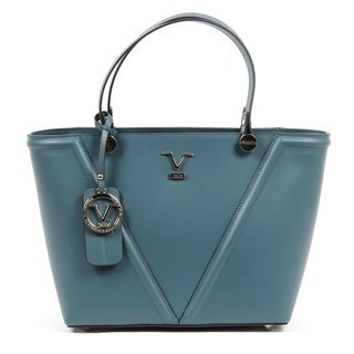 Versace 1969 V Italia V Signature Leather Teal Tote Bag